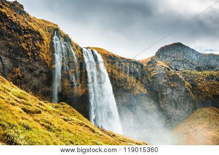 Beautiful And Famous Seljalandsfoss Waterfall, South Iceland.