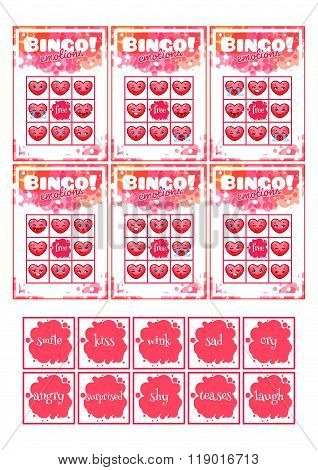 Education Bingo Game For Preschool Kids With Different Emotions Of Heart.