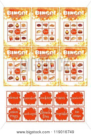 Education Bingo Game For Preschool Kids With Fast Food.