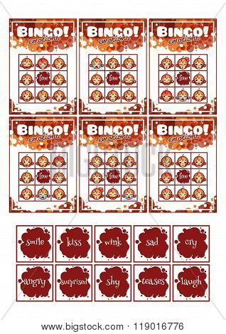 Education Bingo Game For Preschool Kids With Different Emotions Of Monkey.