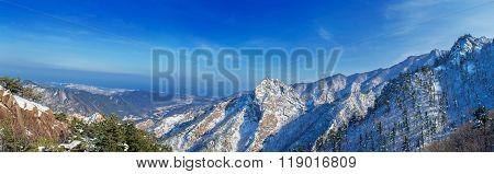 Panorama Of Seoraksan In Winter,famous Mountain In Korea