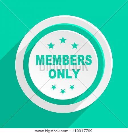 members only flat design modern web icon with shadow for internet and app