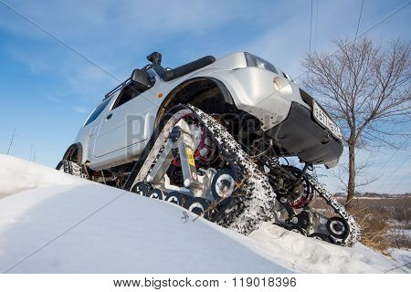The Car Rides On Tracks In The Winter