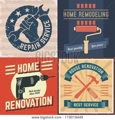 Set of vector home renovation posters