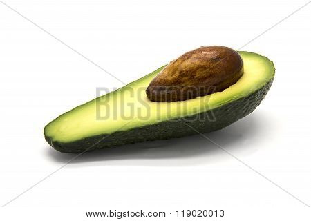 One sliced avocado on white isolated background