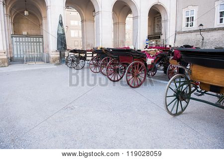 Historic Coaches In The Historic Oldtown Of Salzburg