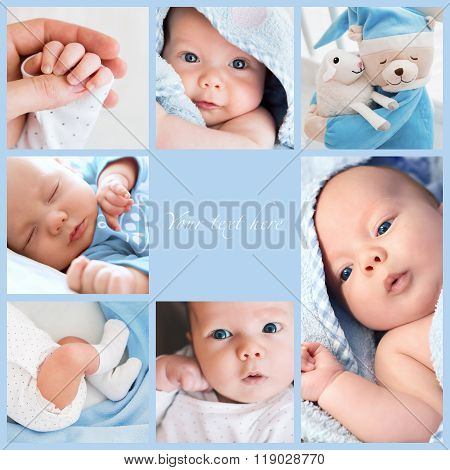 Collage of newborn baby's photos