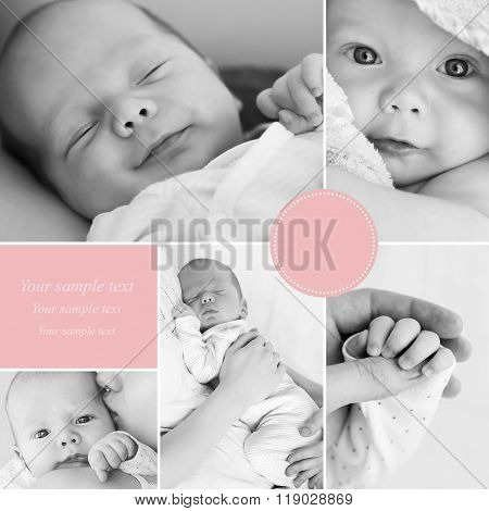 Collage of newborn baby's photos