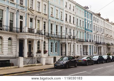 LONDON UK - 16TH JULY 2015: Common Terrace houses in Notting Hill during the day.