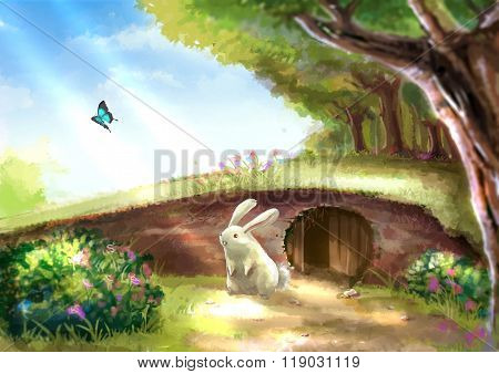 Illustration Of Cartoon Cute White Rabbit Bunny Is Standing Near The Rabbit Hole In Beautiful Garden