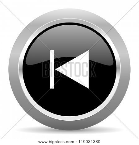 prev black metallic chrome web circle glossy icon