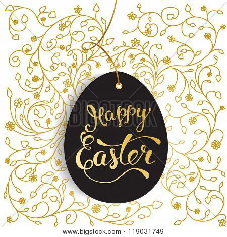 Easter Greeting Card With  Easter Egg And Original  Text