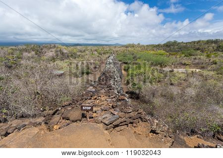 Wall of Tears (Muro de las lagrimas) , Isabela ,Galapagos ,Focus on wall