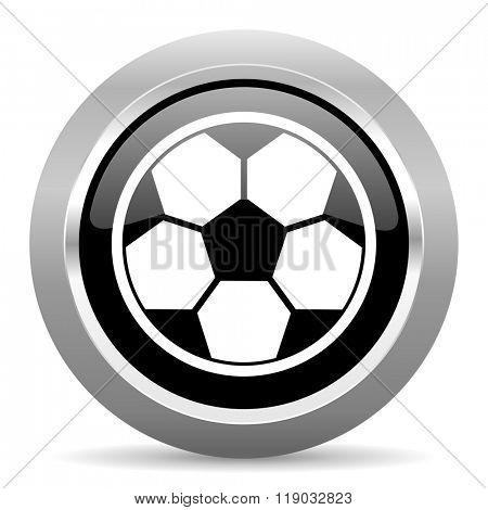 soccer black metallic chrome web circle glossy icon
