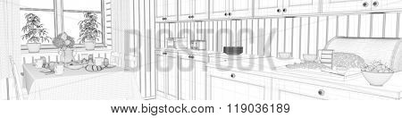 Panorama CAD wireframe mesh of kitchen with breakfast table (3D Rendering)