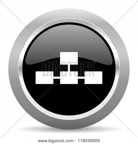 database black metallic chrome web circle glossy icon