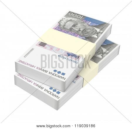 Croatian kuna bills isolated on white background. Computer generated 3D photo rendering.