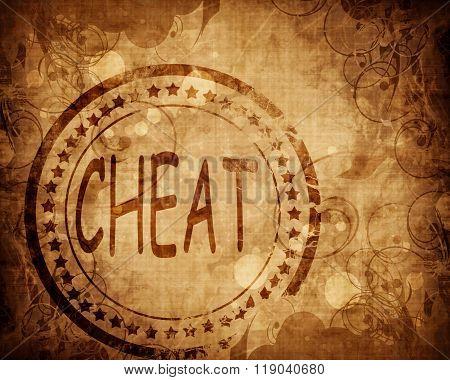Cheat stamp on grunge background