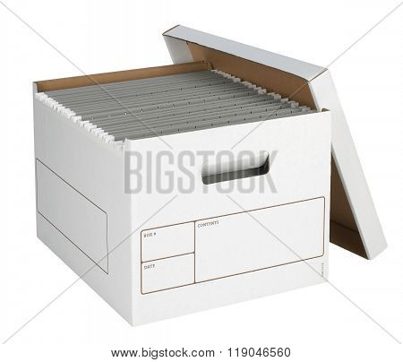 Bankers Box with files isolated on white