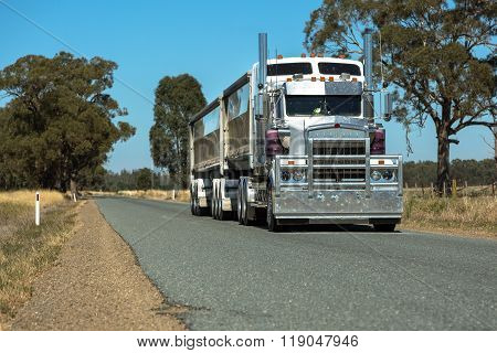 Semi Trailer Road Transport On Rural Road