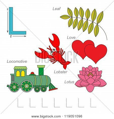 Tracing Worksheet for children. Full english alphabet from A to Z pictures for letter L the colorful version.