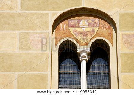 Tradate Italy Abstract  Window Monument Curch Mosaic    Yellow