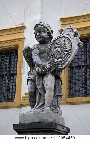 Prague, Czech Republic - April 29, 2013: Angel Statue At The Birth Of Christ Church Of Loreto In Pra