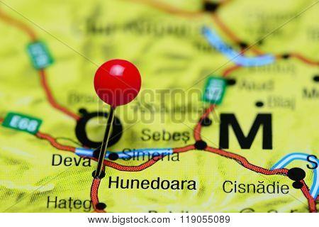Hunedoara pinned on a map of Romania