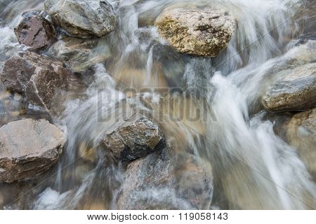 Brook With Clear Fast Flowing Water