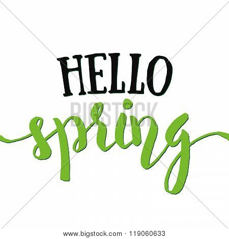 Hello Spring - Hand Drawn Inspirational Quote. Spring Vector Isolated Typography Design Element. Hel