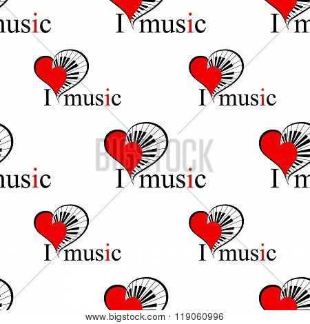 seamless patter with music heart. vector