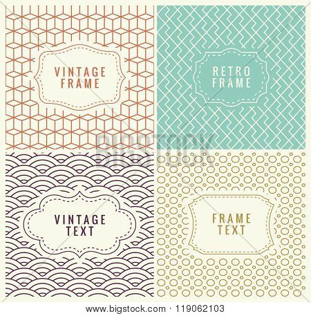 Retro Mono Line Frames with place for Text. Vector Design Template, Labels, Badges on Seamless Geometric Patterns. Minimal Textures. Seamless Vector Backgrounds