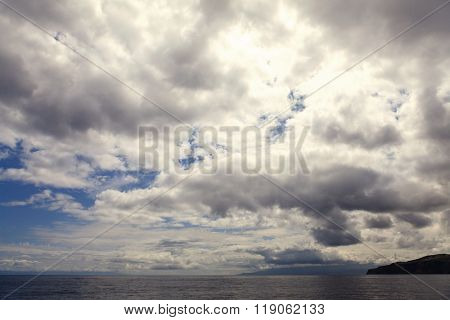 Clouds on the sky and sea water