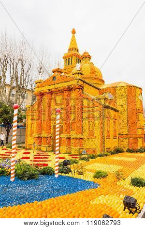 MENTON FRANCE - FEBRUARY 14 2016: Art made of lemons and oranges in the famous Lemon Festival (Fete du Citron) in Menton France. The famous fruit garden receives 230000 visitors a year.