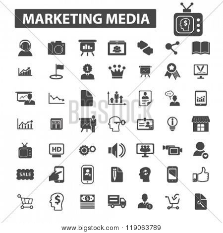 market icons, market logo, marketing icons vector, marketing flat illustration concept, marketing infographics elements isolated on white background, marketing logo, marketing symbols set, media