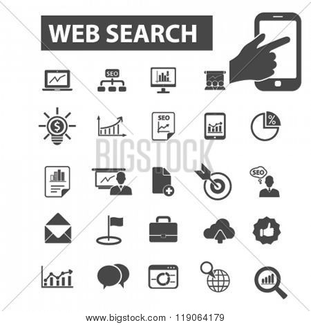 web search icons, web search logo, seo icons vector, seo flat illustration concept, seo infographics elements isolated on white background, seo logo, seo symbols set, search engine, digital promotion