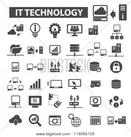 it technology icons, it technology logo, internet icons vector, internet flat illustration concept, internet infographics elements isolated on white background, internet logo, internet symbols set