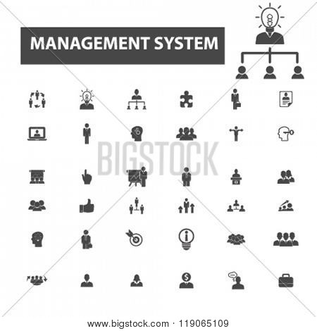 system icons, system logo, management icons vector, management flat illustration concept, management infographics elements isolated on white background, management logo, management symbols set, goal