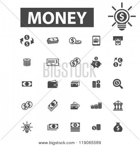 cash icons, cash logo, money icons vector, money flat illustration concept, money infographics elements isolated on white background, money logo, money symbols set, coin, dollar, banknotes, currency