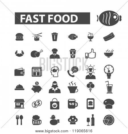 restaurant icons, restaurant logo, fast food icons vector, fast food flat illustration concept, fast food infographics elements isolated on white background, fast food logo, fast food symbols set