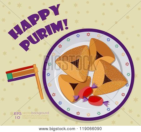 Purim party invitation or greeting card