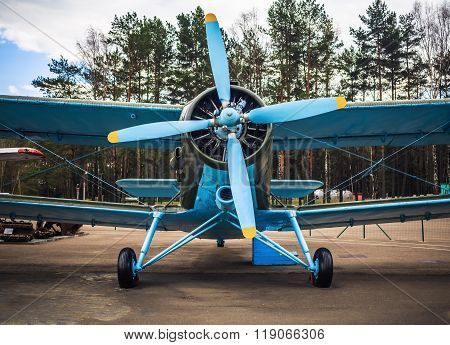 Blue Retro Airplane