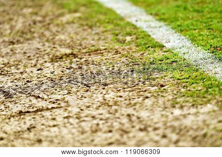 Damaged Turf On Sideline Of A Stadium