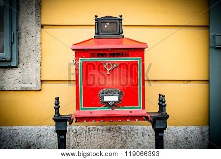 Old Postbox In Street Of Budapest.