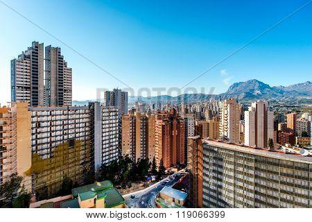 Modern Skyscrapers Of Benidorm. Benidorm Is A Coastal City In Alicante, Costa Blanca. Spain