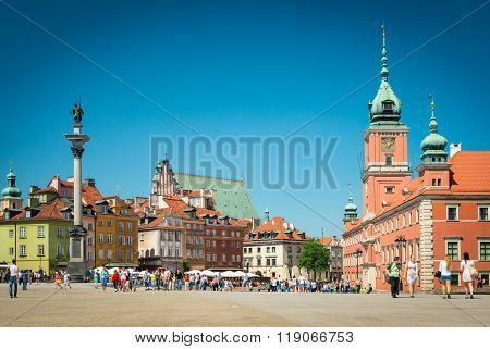 Castle Square In Warsaw, Poland, Europe.