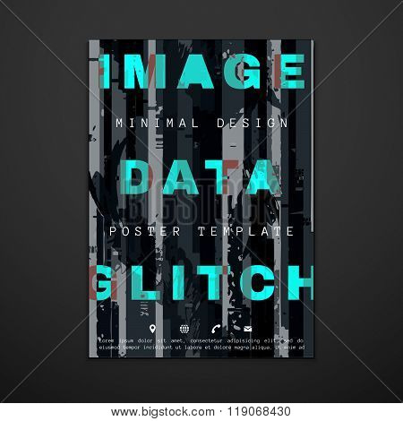 Colored Glitch Design Backdrop Poster Layout.