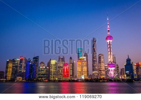 Shanghai Pudong Skyline Sunset, China