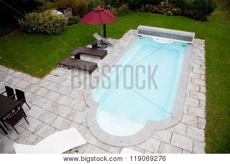 Swimming Pool With Stone Deck Top View