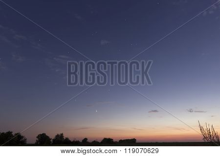 Beautiful dawn sky Jupiter and Venus Conjunction After sunset With Constellations Leo, Lynx, Ursa ma